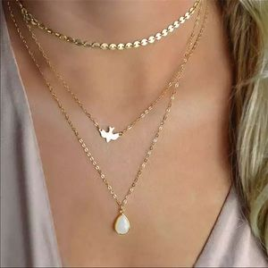 NEW! GOLDEN FLYING BIRD MULTILAYERS NECKLACE